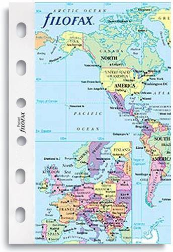 Filofax mapa světa politická časová pásma A7