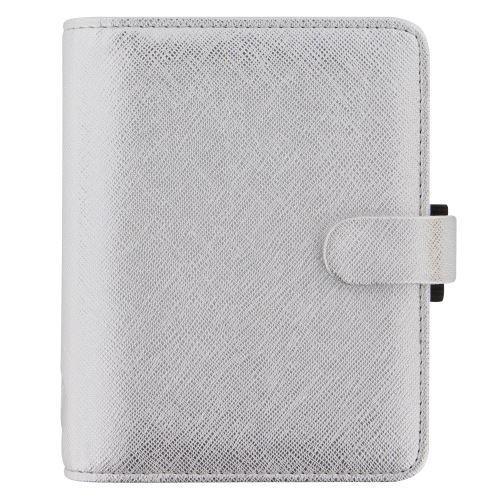 Filofax Saffiano A7 Pocket Metallic Silver diář kapesní