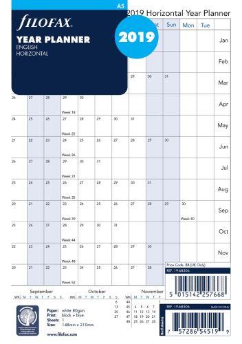 Filofax plánovací kalendář A5 2019 horizontální anglický