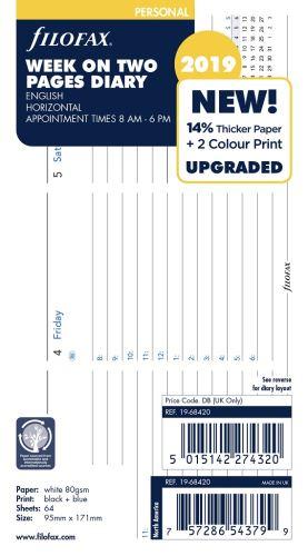 Filofax kalendář A6 2019 týden na dvě strany horizontální  anglický