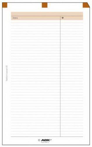 Náplň do diáře ADK A6 telefonní seznam formulář