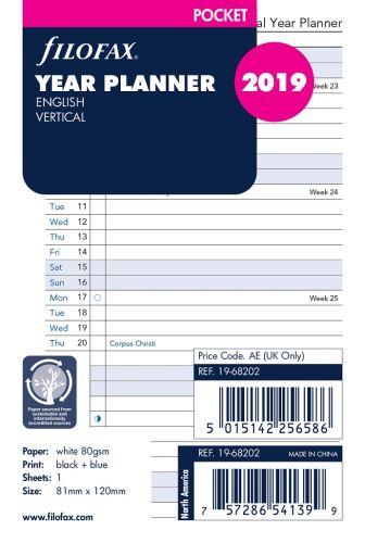 Filofax plánovací kalendář A7 2019 vertikální anglický