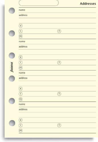 Filofax adresář krémový A7