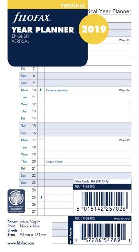Filofax plánovací kalendář A6 2019 vertikální anglický