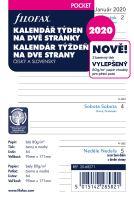 Filofax kalendář A7 2020 týden na dvě strany linky český