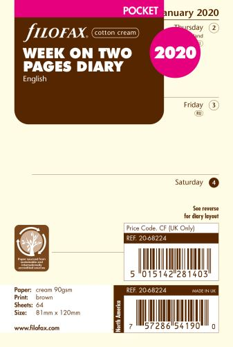 Filofax kalendář A7 2020 týden na dvě strany anglický krémový
