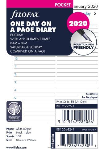 Filofax kalendář A7 2020 den na jednu stranu anglický