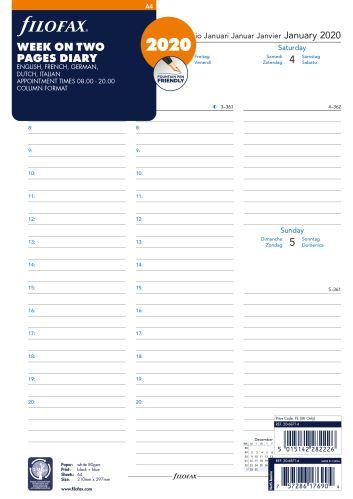 Filofax kalendář A4 2020 týden na dvě strany sloupce 5 jazyků