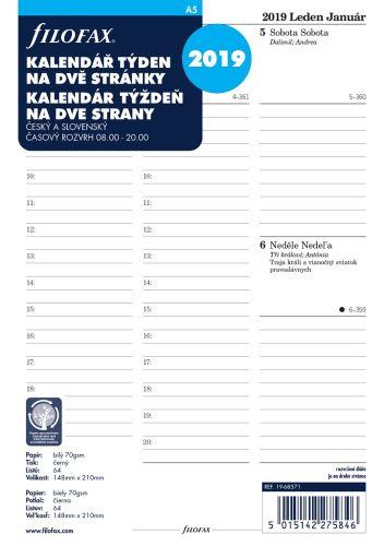 Filofax kalendář A5 2019 týden na dvě strany český