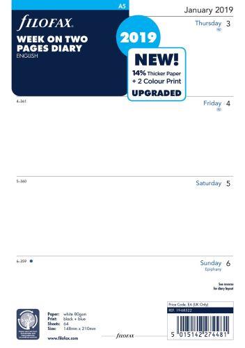 Filofax kalendář A5 2019 týden na dvě strany anglický