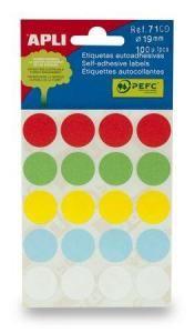 APLI etikety kolečka 19mm mix barev 100ks/bal