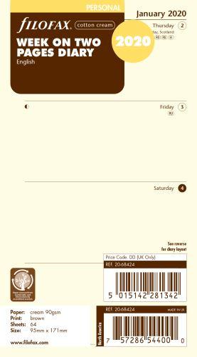 Filofax kalendář A6 2020 týden na dvě strany anglický krémový