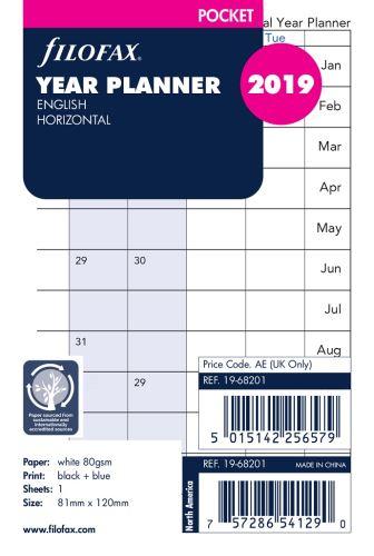 Filofax náplň do diáře formát A7 kalendář 2019 horizontální AJ