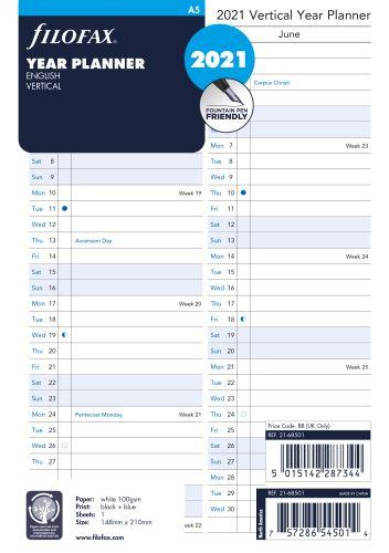 Filofax plánovací kalendář A5 2020 vertikální anglický