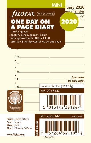 Filofax kalendář Mini 2020 den na jednu stranu 4 jazyky krémový