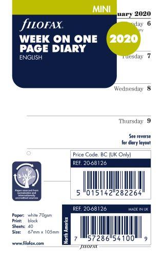 Filofax kalendář Mini 2020 týden na jednu stranu anglický