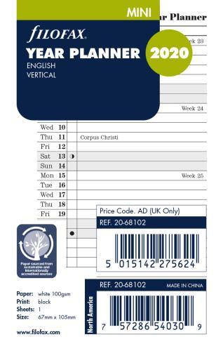 Filofax plánovací kalendář Mini 2020 vertikální anglický