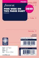 Filofax kalendář A7 2020 týden na dvě strany anglický růžový