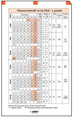 Náplň do diáře ADK A7 plánovací kalendář 2018