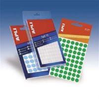 APLI etikety kolečka 8mm fluorescentní zelené 288ks/bal
