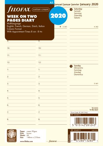 Filofax kalendář A5 2020 týden na dvě strany sloupce krémový 5 jazyků
