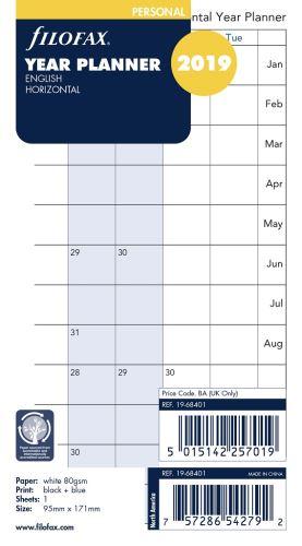 Filofax náplň do diáře formát A6 kalendář 2019 horizontální AJ