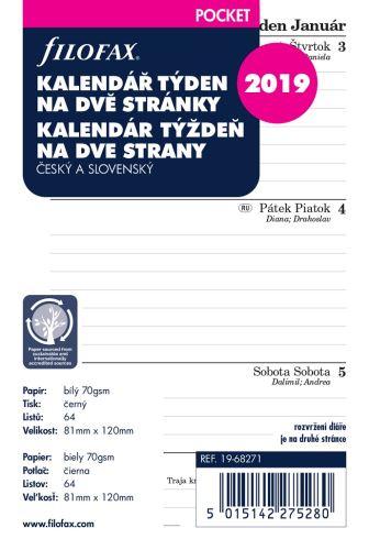 Filofax kalendář A7 2019 týden na dvě strany linky český