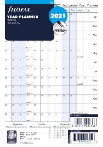 Filofax plánovací kalendář A5 2020 horizontální anglický
