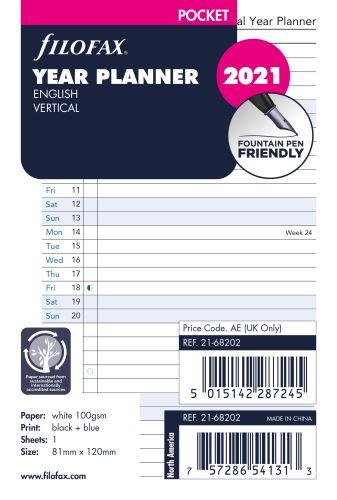 Filofax plánovací kalendář A7 2021 vertikální anglický