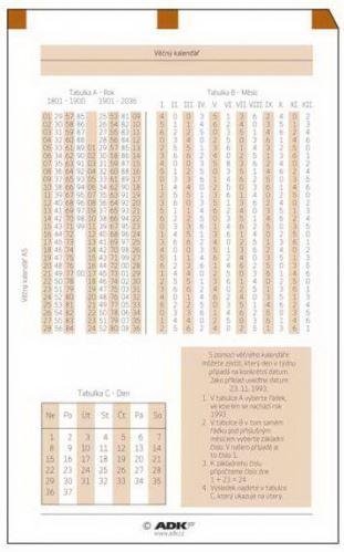 Náplň do diáře ADK A6 věčný kalendář formulář