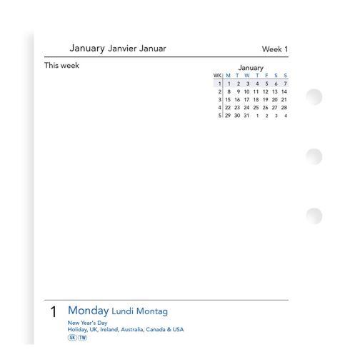 Filofax kalendář A6 2020 2 dny na 1 stranu vícejazyčný