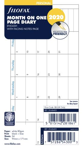 Filofax náplň do diáře formát A6 kalendář 2019 AJ