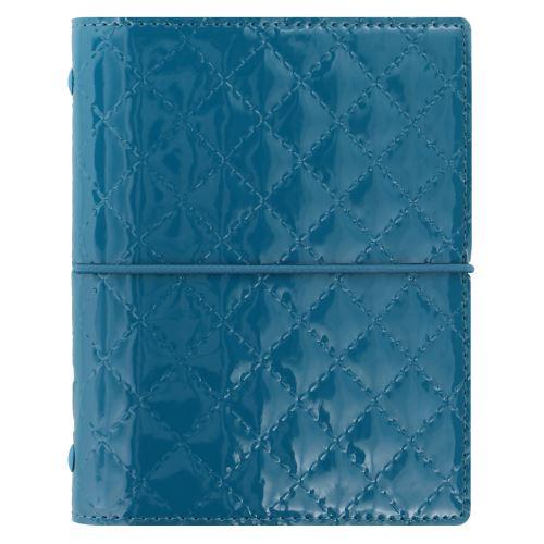 Filofax Domino Luxe A7 Pocket teal diář kapesní lesklý
