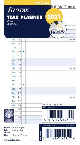 Filofax plánovací kalendář A6 2021 vertikální anglický