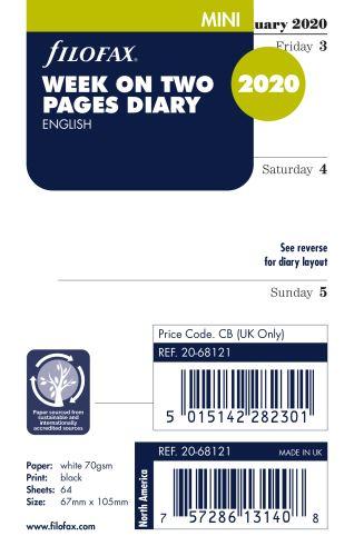 Filofax kalendář Mini 2020 týden na dvě strany anglický
