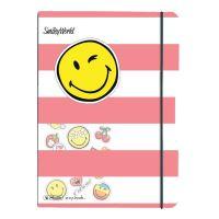 Herlitz sešit flex A5 40 listů čtverečkovaný PP pink smiley + samolepky
