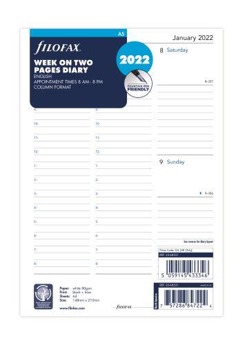 Filofax A5 2022 týden na dvě strany s časem, anglický
