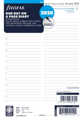 Filofax kalendář A5 2020 den na jednu stranu 5 jazyků