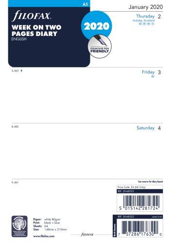 Filofax kalendář A5 2020 týden na dvě strany anglický