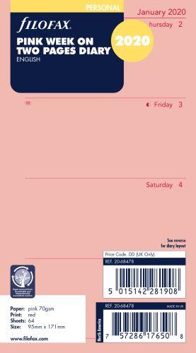 Filofax kalendář A6 2020 týden na dvě strany anglický růžový