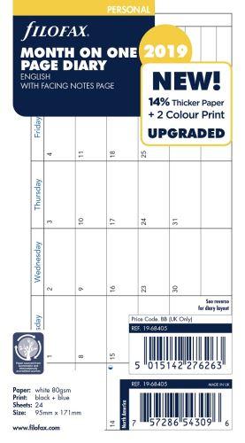 Filofax kalendář A6 2019 měsíc na jednu stranu anglický