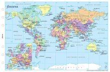 Filofax mapa světa politická + časová pásma A6