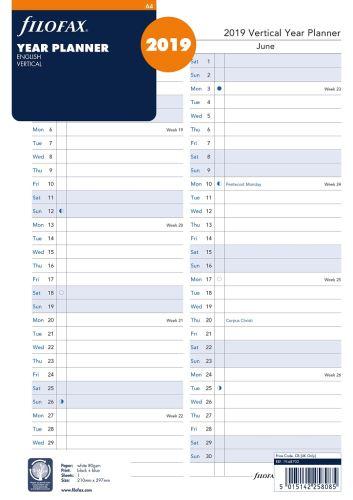 Filofax náplň do diáře formát A4 kalendář 2019 vertikální AJ