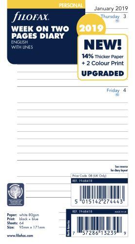 Filofax kalendář A6 2019 týden na dvě strany linkovaný anglický