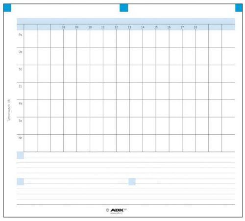 Náplň do diáře ADK A5 týdenní rozvrh formulář