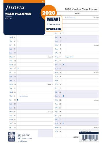 Filofax plánovací kalendář A4 2020 vertikální anglický