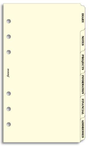 Filofax náplň do diáře formát A6 krajové výřezy krémové