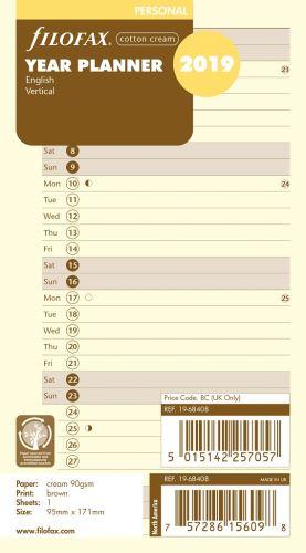 Filofax plánovací kalendář A6 2019 vertikální anglický krémový