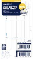 Filofax kalendář A6 2020 týden na dvě strany horizontální  anglický