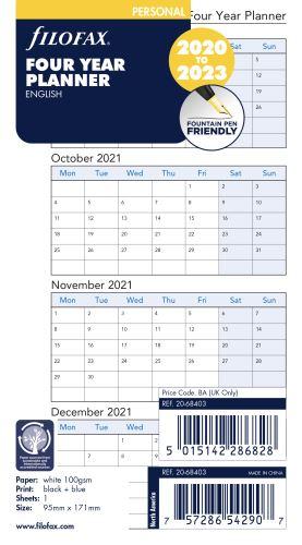 Filofax náplň do diáře formát A6 kalendář 2019-2022 AJ